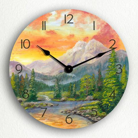 "Beautiful Mountain Stream Scene 12"" Silent Wall Clock"