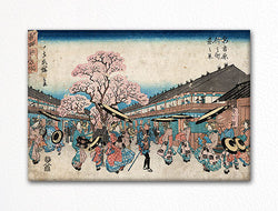 A Spring Scene of Nakanocho in Shin-Yoshiwara Woodblock Print Fridge Magnet