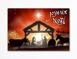 Traditional Christmas Nativity Scene Joyeux Noel Fridge Magnet