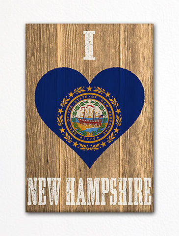 I Love New Hampshire Flag Heart Fridge Magnet