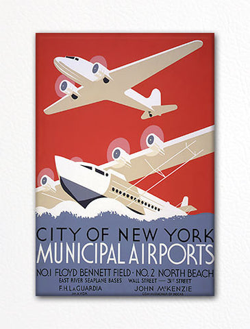 New York Municipal Airports Poster Fridge Magnet