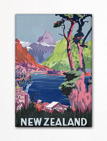 New Zealand Kiwi Tourist Poster Artwork Fridge Magnet