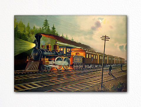 Night Scene on the New York Centrail Railroad Fridge Magnet