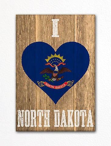 I Love North Dakota Flag Heart Fridge Magnet