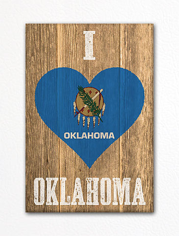 I Love Oklahoma Flag Heart Fridge Magnet