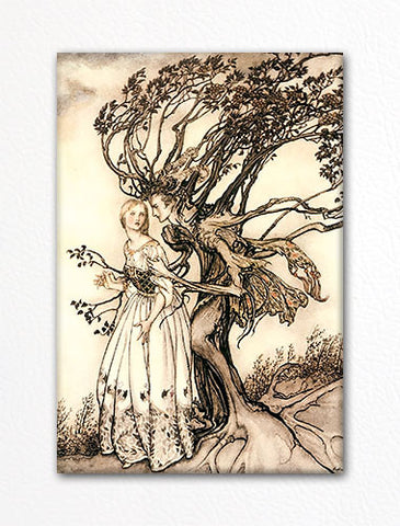 The Old Woman in the Wood Fridge Magnet