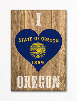 I Love Oregon Flag Heart Fridge Magnet