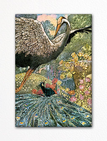 The Peacock and the Crane Illustration Fridge Magnet