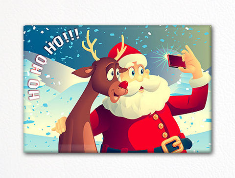 Santa and Rudolph Taking a Selfie Fridge Magnet