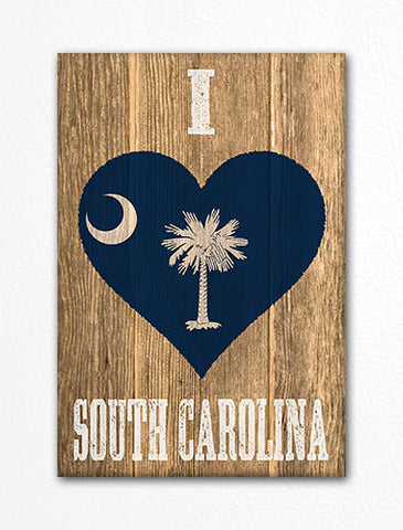 I Love South Carolina Flag Heart Fridge Magnet
