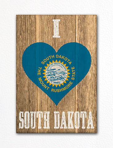 I Love South Dakota Flag Heart Fridge Magnet