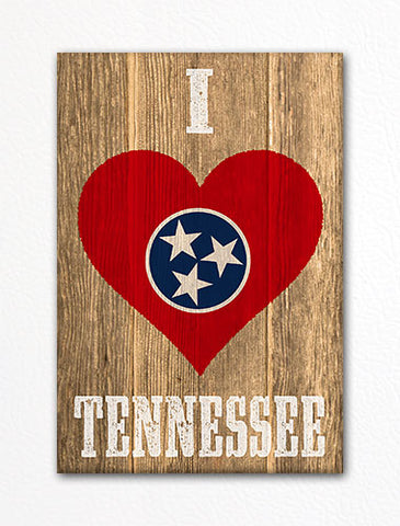 I Love Tennessee Flag Heart Fridge Magnet