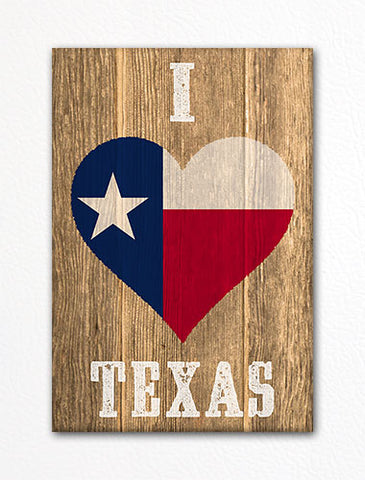 I Love Texas Flag Heart Fridge Magnet