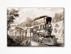 The Express Train Currier & Ives Fridge Magnet