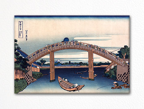 Under Mannen Bridge at Fukagawa Woodblock Fridge Magnet