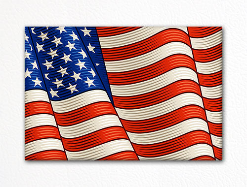United States Woodcut Style Waving Flag Fridge Magnet