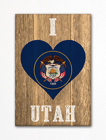 I Love Utah Flag Heart Fridge Magnet