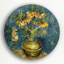 "Imperial Fritillaries in a Copper Vase Vincent Van Gogh 12"" Silent Wall Clock"