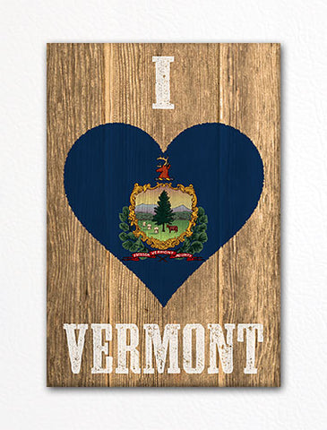 I Love Vermont Flag Heart Fridge Magnet