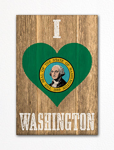 I Love Washington Flag Heart Fridge Magnet