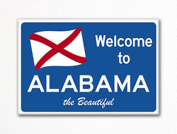 Welcome to Alabama Sign Replica Souvenir Fridge Magnet