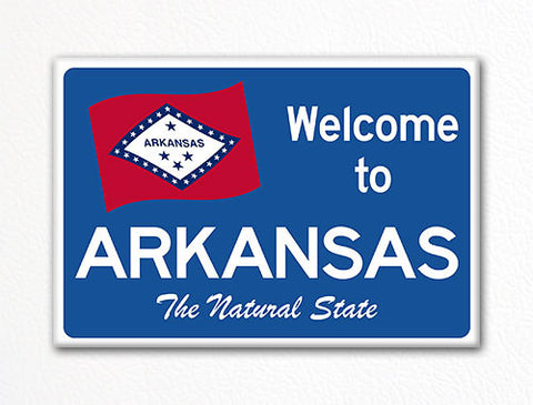 Welcome to Arkansas Sign Replica Souvenir Fridge Magnet