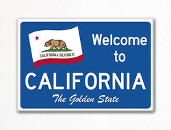 Welcome to California Sign Replica Souvenir Fridge Magnet