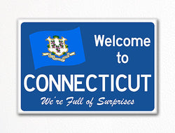 Welcome to Connecticut Sign Replica Souvenir Fridge Magnet