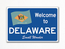 Welcome to Delaware Sign Replica Souvenir Fridge Magnet