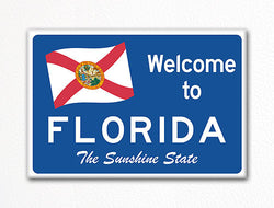 Welcome to Florida Sign Replica Souvenir Fridge Magnet