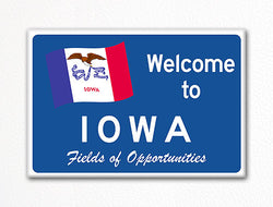 Welcome to Iowa Sign Replica Souvenir Fridge Magnet