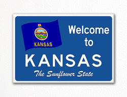 Welcome to Kansas Sign Replica Souvenir Fridge Magnet