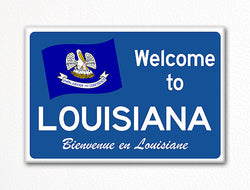 Welcome to Louisiana Sign Replica Souvenir Fridge Magnet
