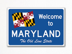 Welcome to Maryland Sign Replica Souvenir Fridge Magnet