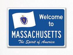 Welcome to Massachusetts Sign Replica Souvenir Fridge Magnet