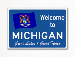 Welcome to Michigan Sign Replica Souvenir Fridge Magnet