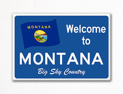 Welcome to Montana Sign Replica Souvenir Fridge Magnet