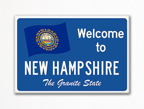Welcome to New Hampshire Sign Replica Souvenir Fridge Magnet