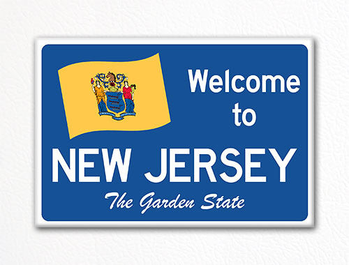 Welcome to New Jersey Sign Replica Souvenir Fridge Magnet