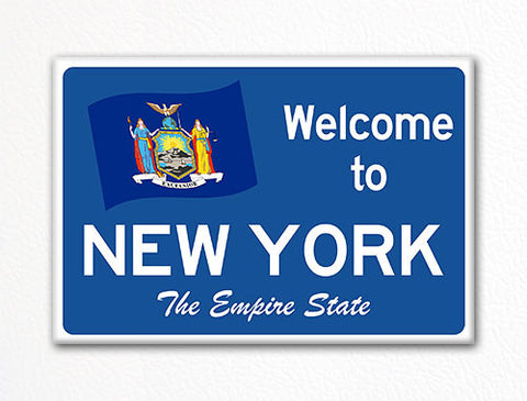 Welcome to New York Sign Replica Souvenir Fridge Magnet