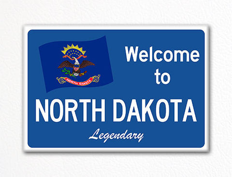 Welcome to North Dakota Sign Replica Souvenir Fridge Magnet