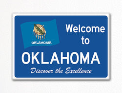 Welcome to Oklahoma Sign Replica Souvenir Fridge Magnet