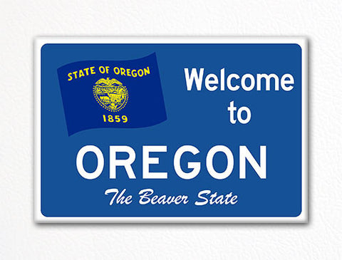Welcome to Oregon Sign Replica Souvenir Fridge Magnet