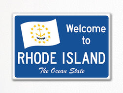 Welcome to Rhode Island Sign Replica Souvenir Fridge Magnet