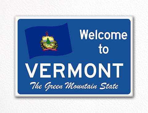 Welcome to Vermont Sign Replica Souvenir Fridge Magnet