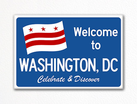 Welcome to Washington DC Sign Replica Souvenir Fridge Magnet