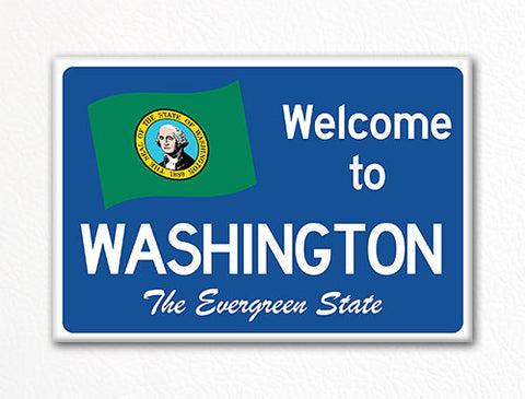 Welcome to Washington Sign Replica Souvenir Fridge Magnet