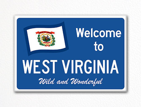 Welcome to West Virginia Sign Replica Souvenir Fridge Magnet