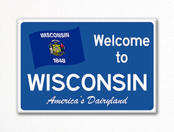 Welcome to Wisconsin Sign Replica Souvenir Fridge Magnet