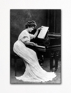 Woman Playing Piano Vintage Photo Fridge Magnet